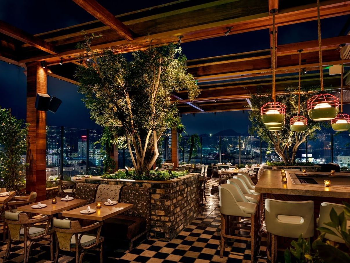 Bar & dining area of the Highlight Room at Dream Hollywood LA