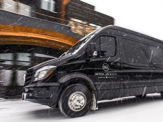 Shuttle service vehicles during the winter at Hotel Jackson