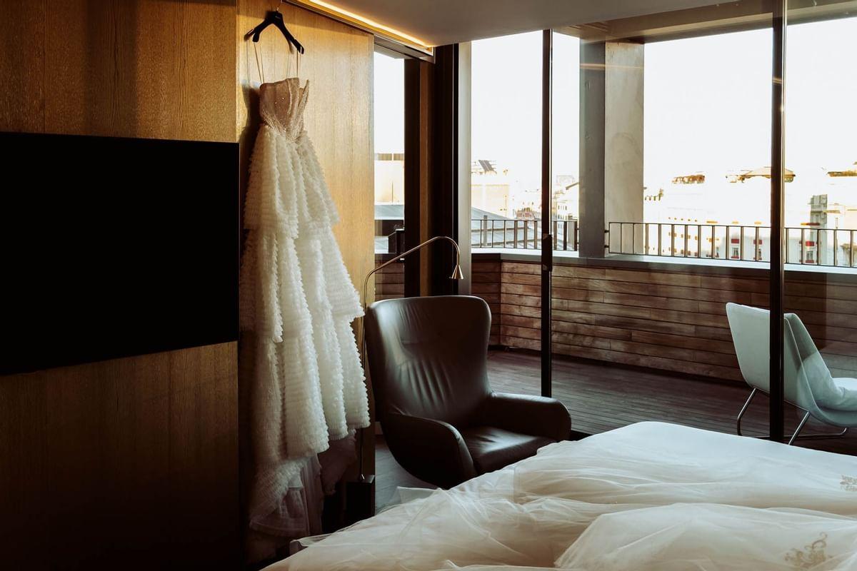 White wedding dress at Almanac Barcelona
