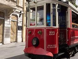 A streetcar in Istiklal Street near CVK Hotels