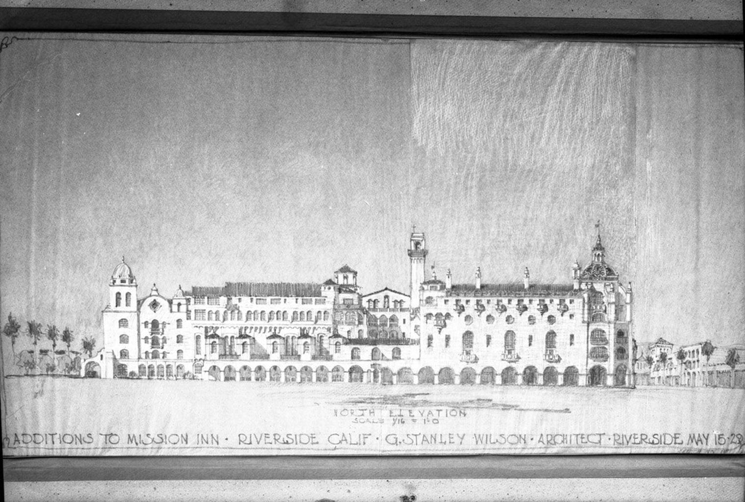 vintage rendering of Mission Inn Hotel