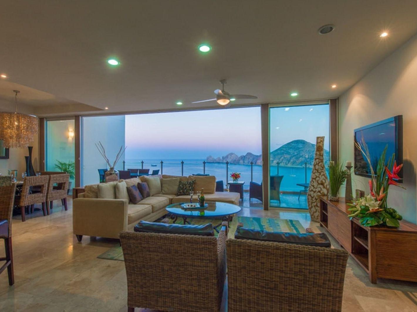 Penthouse Ocean View living room at Cabo Villas Beach Resort
