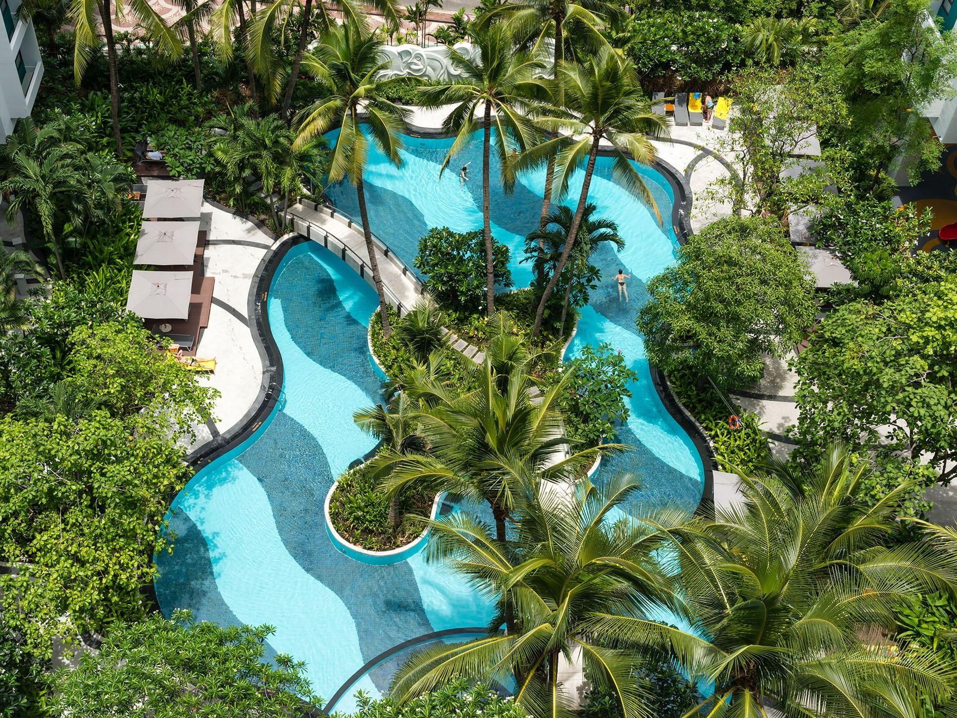 Ariel view of pool at Chatrium Residence Sathon Bangkok