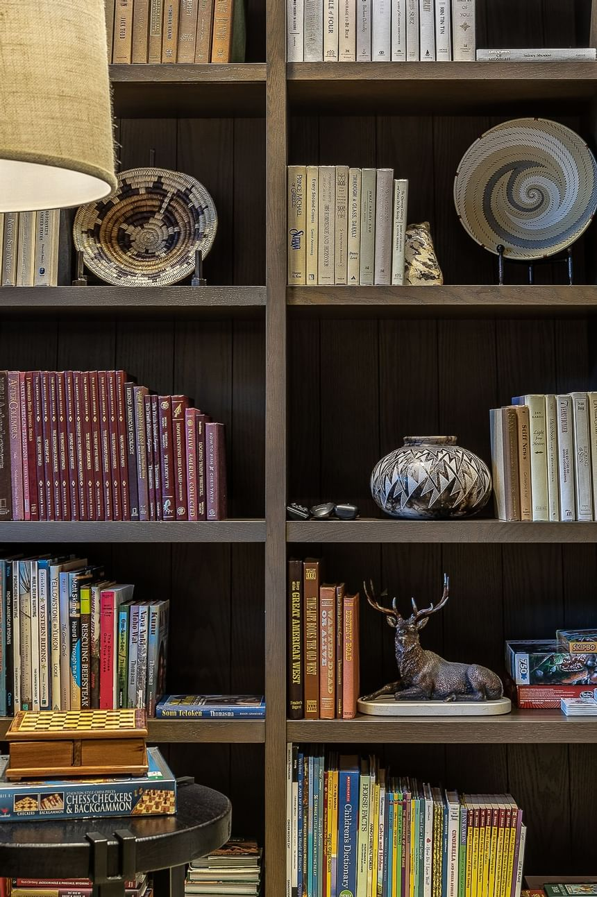 Book shelves in the Sacajawea Library at Hotel Jackson