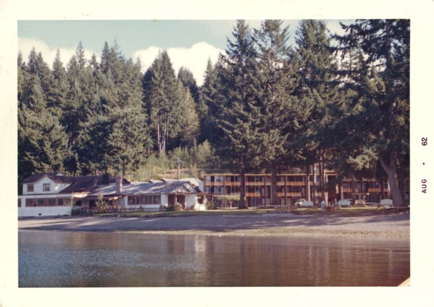 An old picture of the exterior view of Alderbrook Resort & Spa