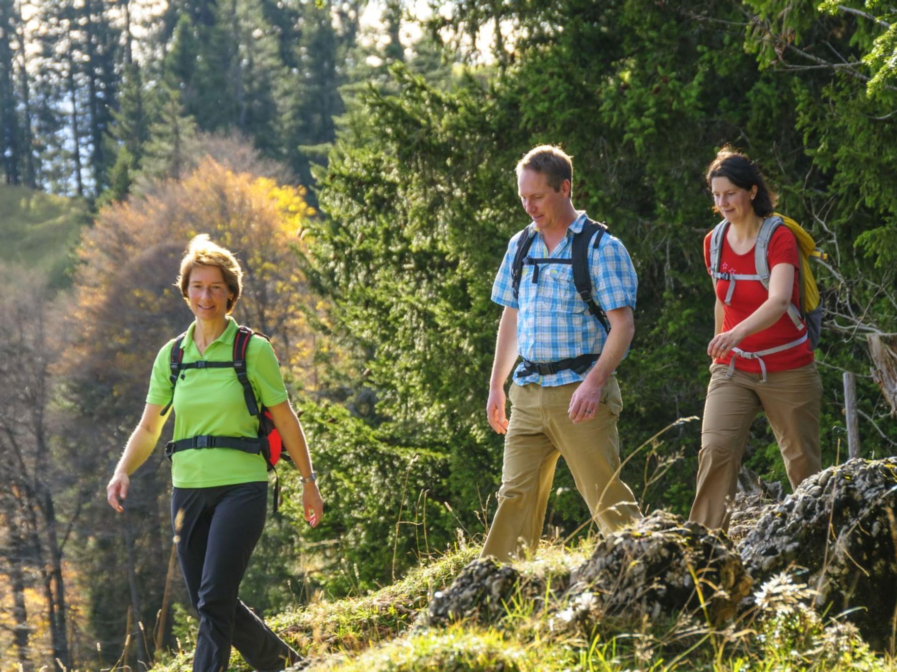 three adults hiking