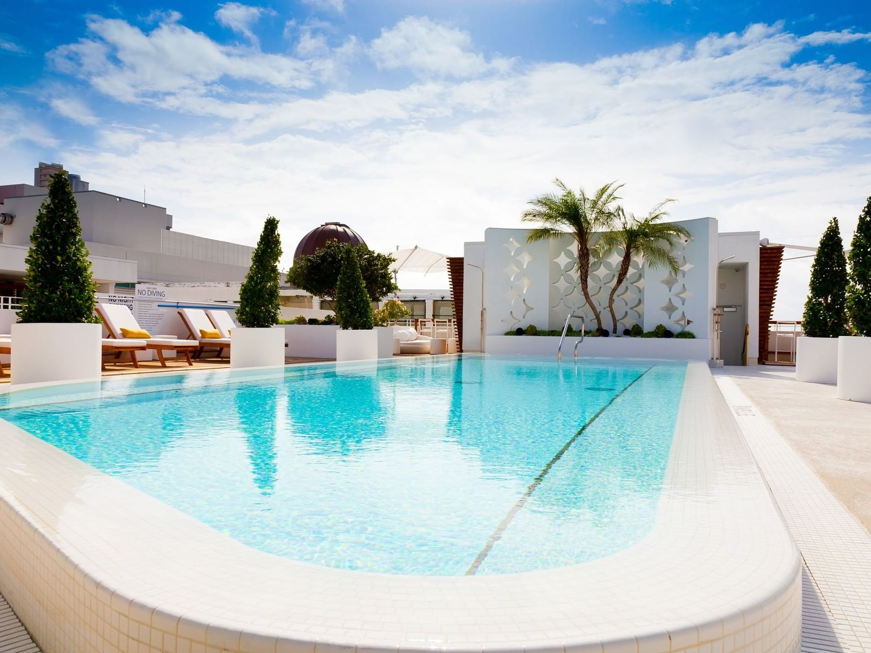 Rooftop Pool with pool beds in Highbar at Dream South Beach