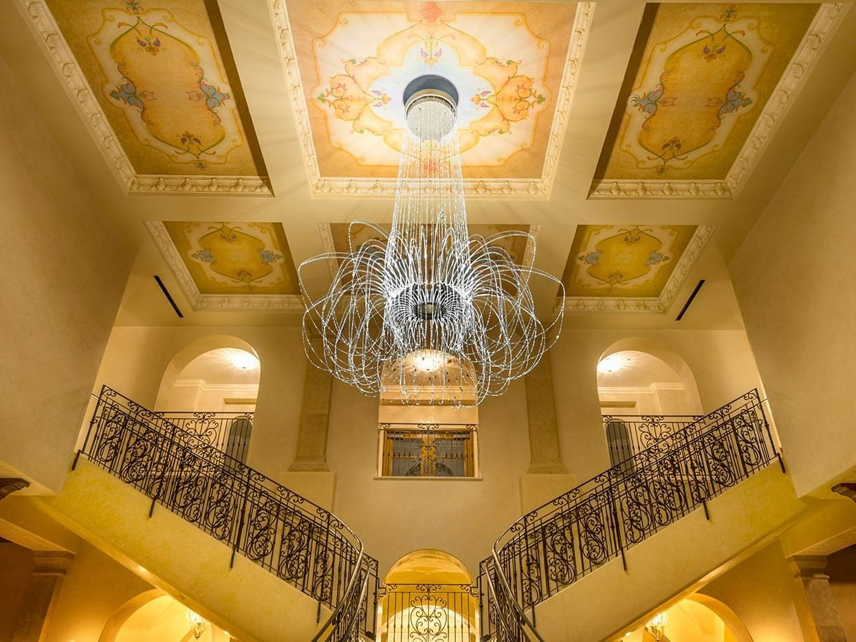 Lobby chandelier and staircase