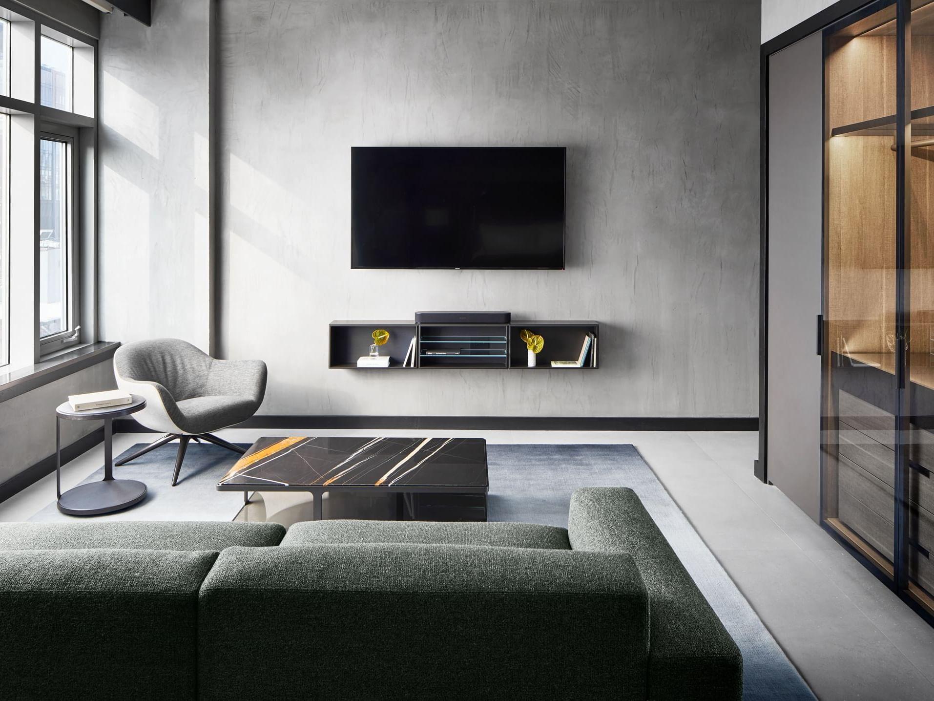 Poliform Penthouse Master Bedroom Living Room
