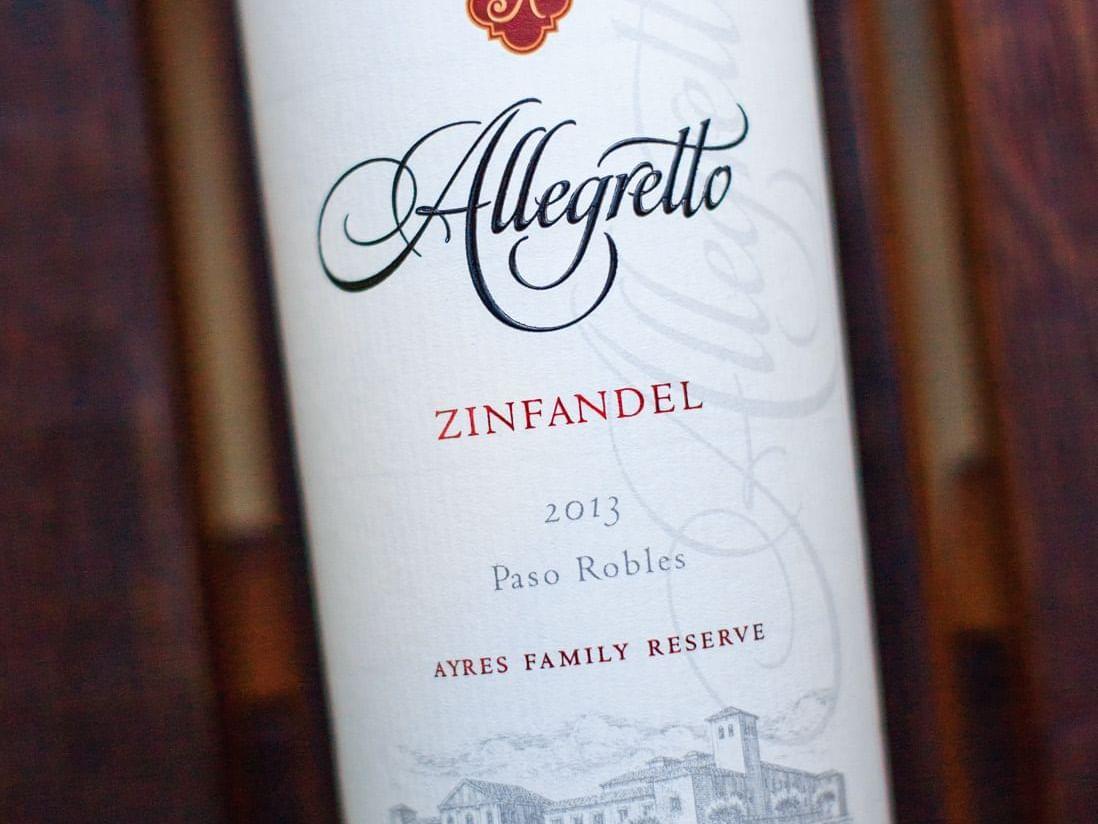 Allegretto Zinfandel wine bottle