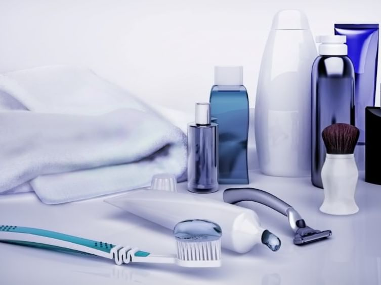 toothbrush, shaver and shampoos