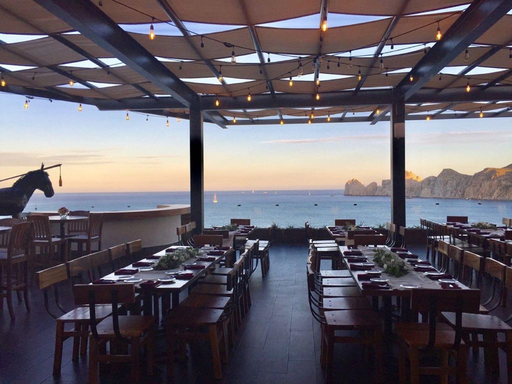 Outdoor seating in Baja Brewing at Cabo Villas Beach Resort