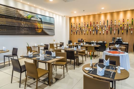 Modern restaurant  with artwork on the walls