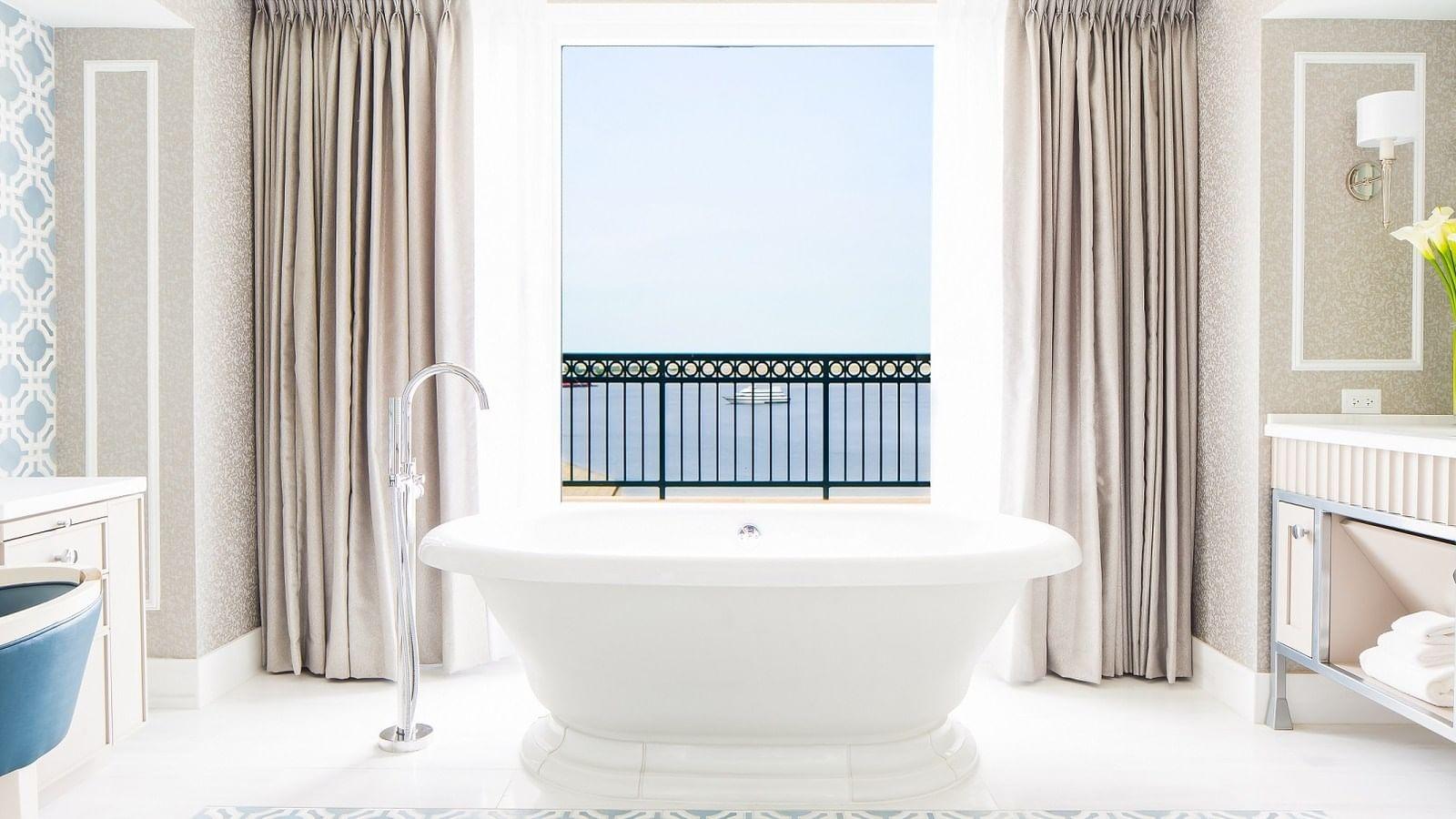 Presidential Suite bathroom overlooking Boston Harbor