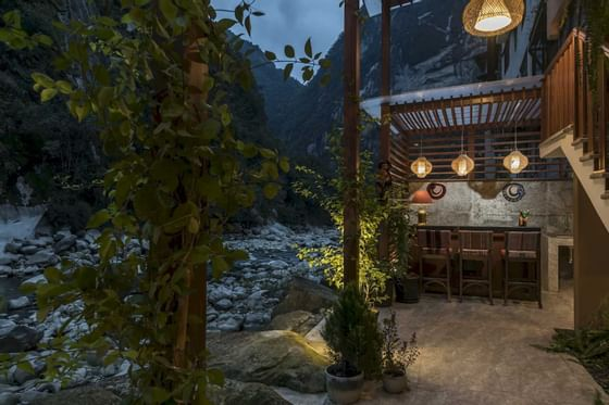outdoor terrace next to river