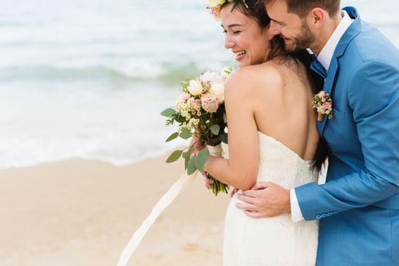A Bride & Groom on the beach near Holiday Inn Montego Bay
