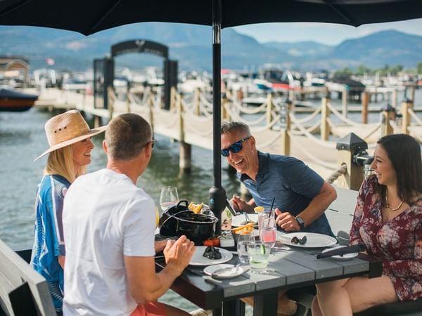 Friends enjoying a meal on Okagawan Lake.