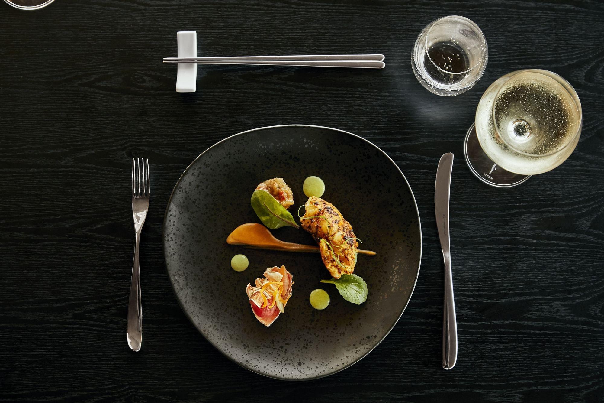 Dish served with wine at Daydream Island Resort