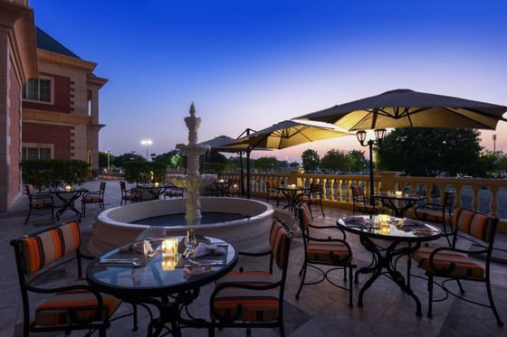 outdoor view of the restaurant at Al Aziziyah Boutique Hotel Doh