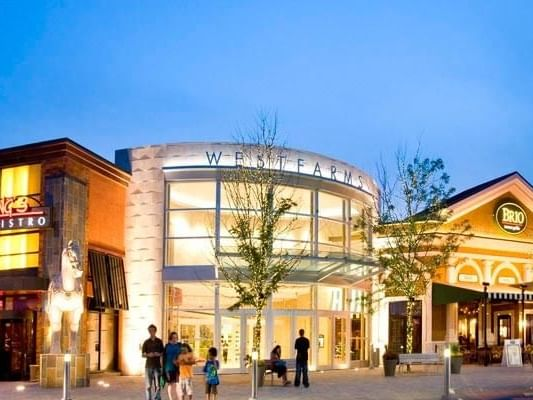 Exterior view of Westfarms Mall near The Simsbury Inn