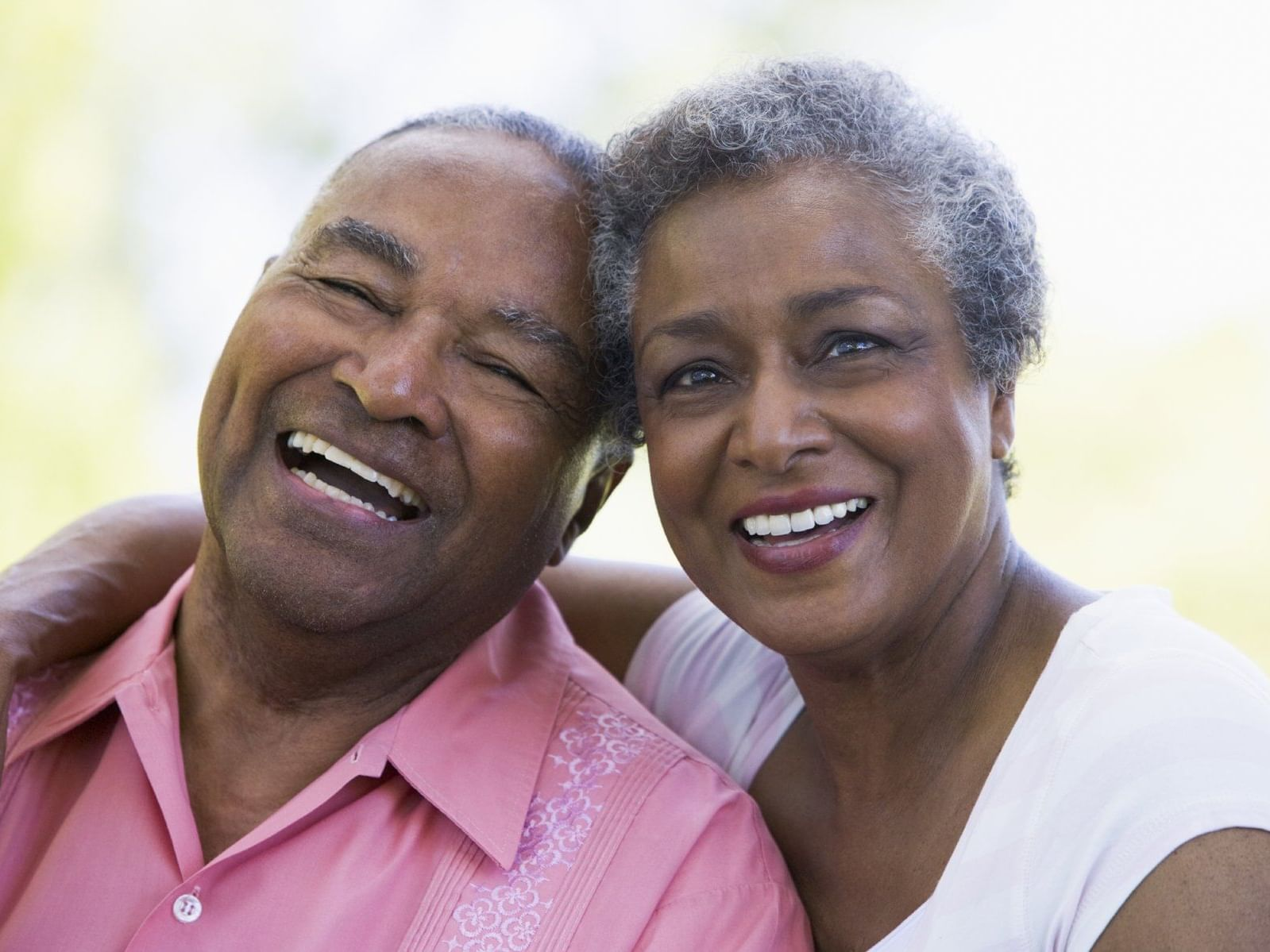 Closeup on a elder smiling couple at Holiday Inn Montego Bay