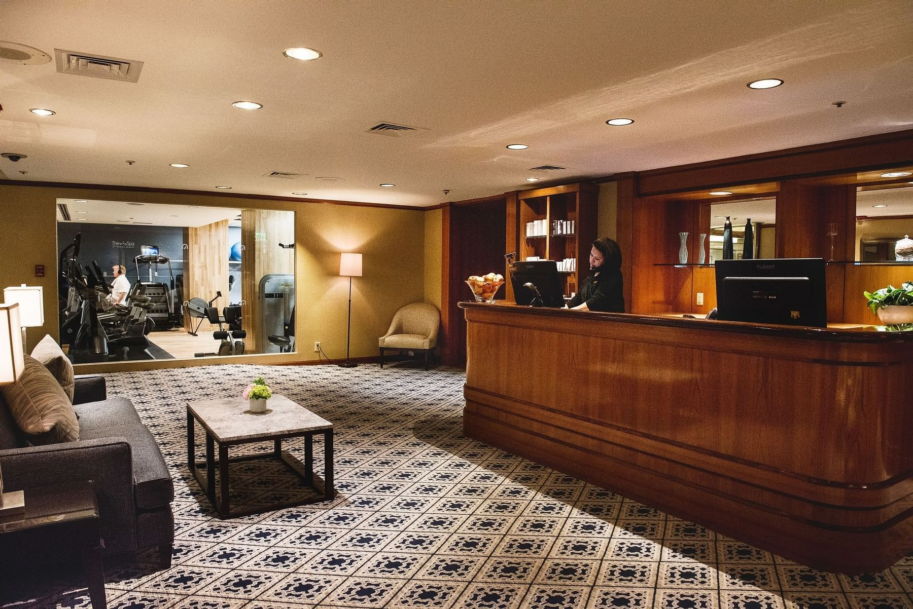 Front desk and reception at Boston Harbor Hotel
