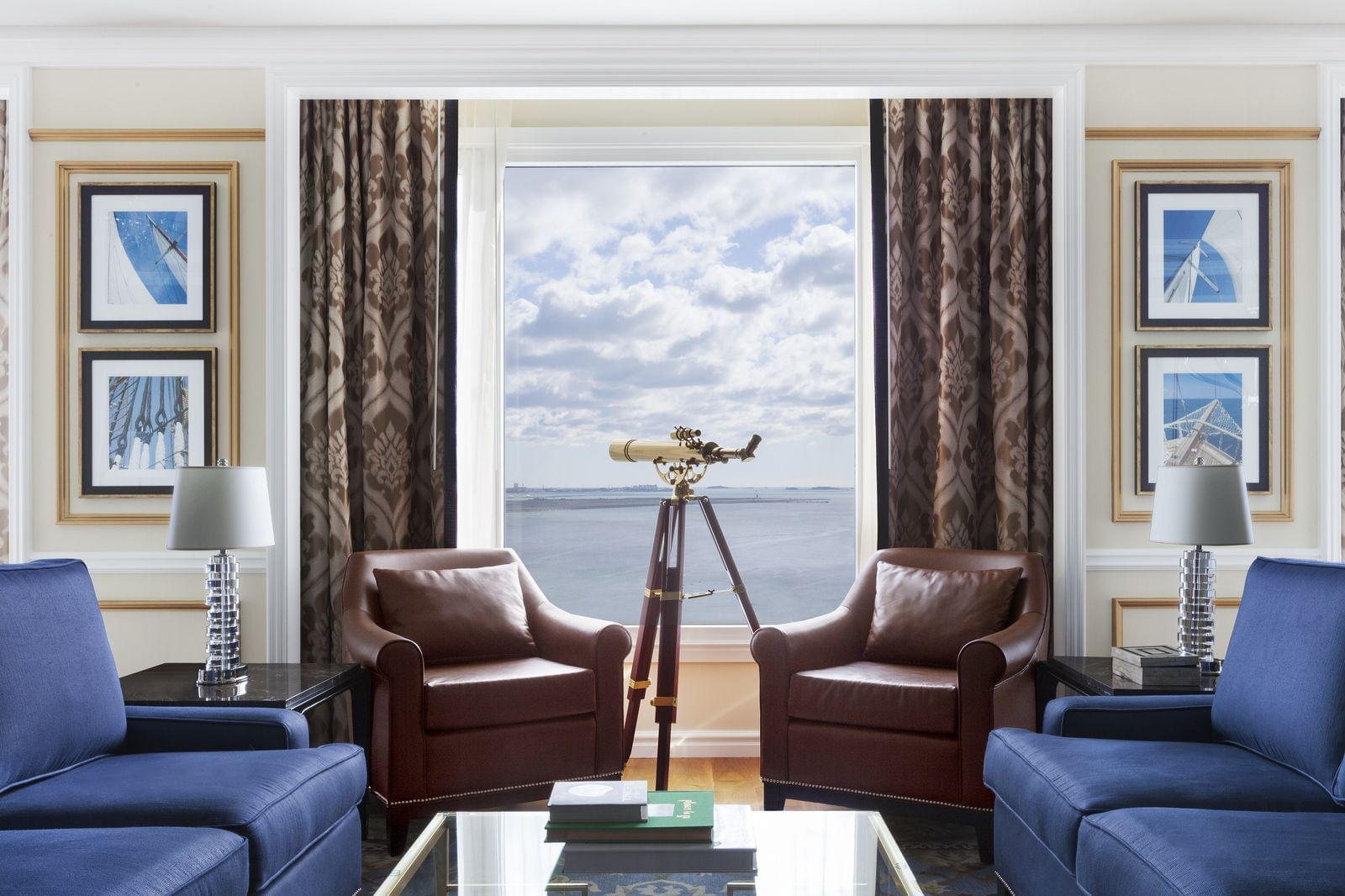 Presidential Suite living area with harbor view