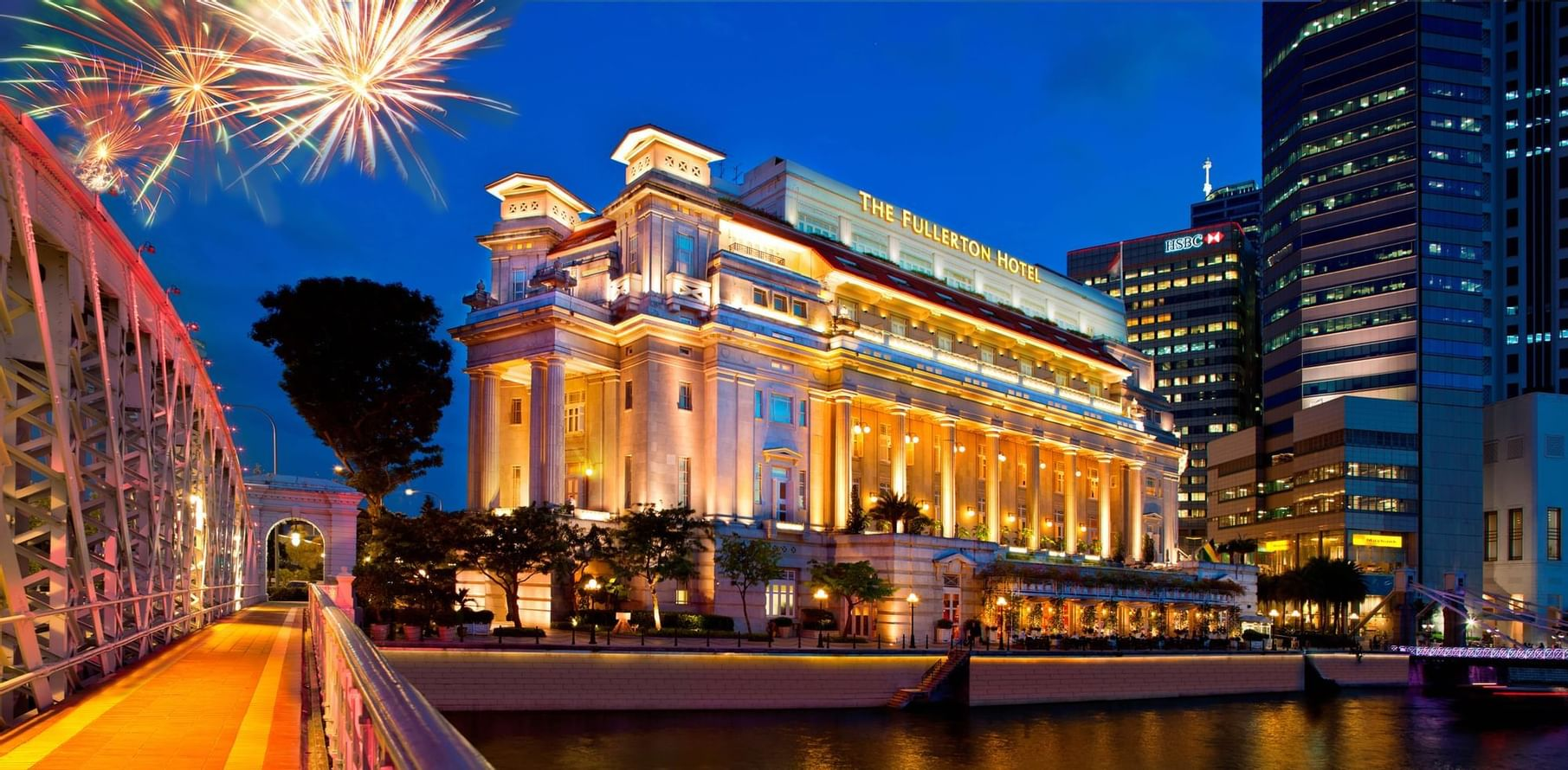 Exterior view of the hotel with fireworks