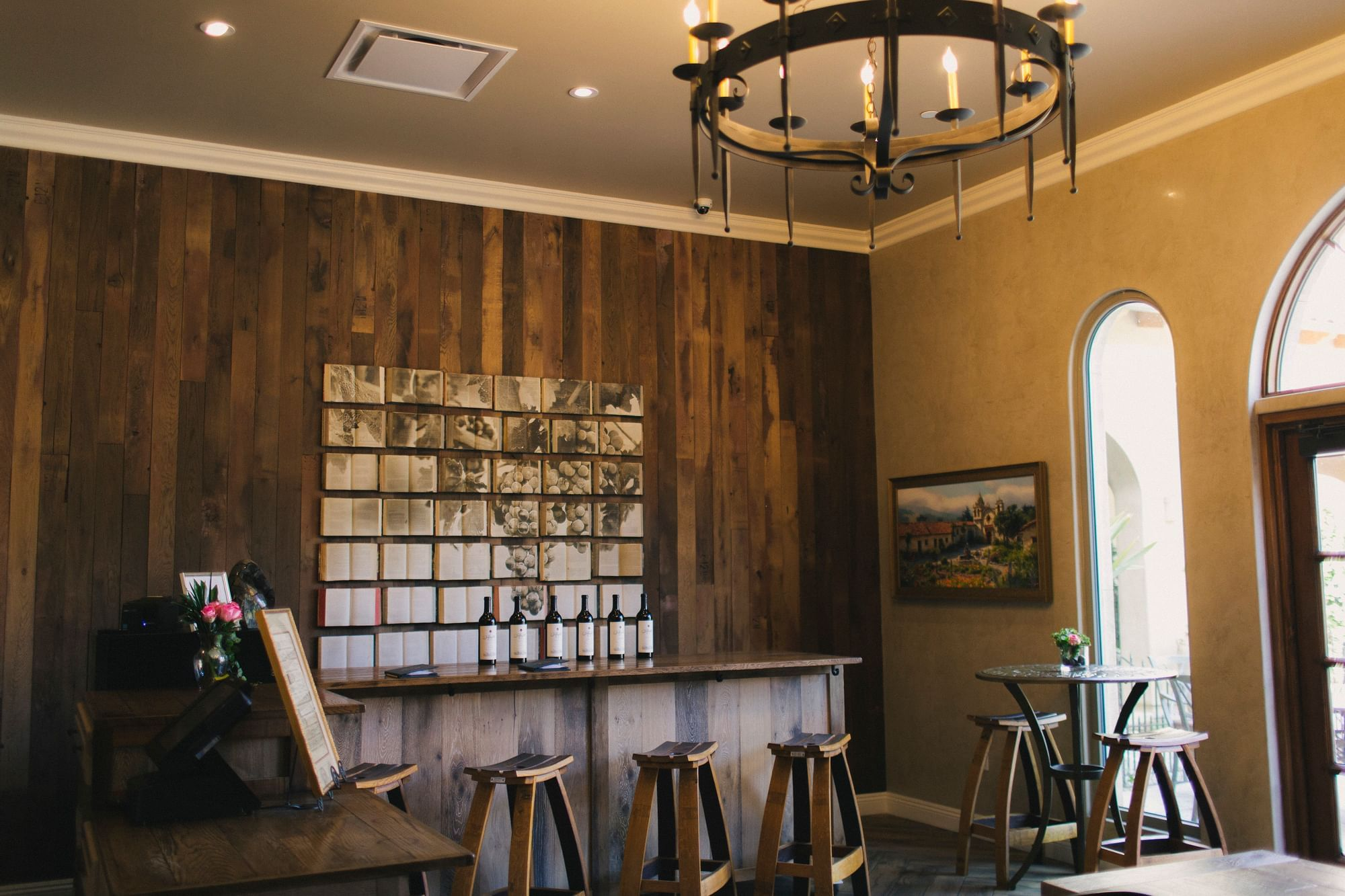 Wine tasting room with wine bar and Allegretto wine bottles line