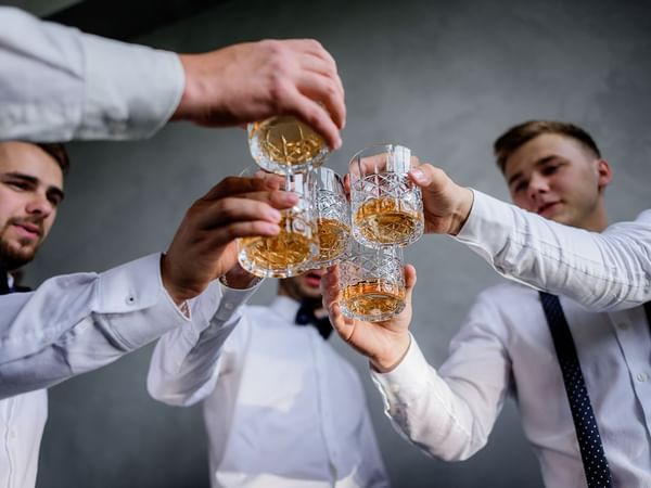 Best men toasting with alcohol at Holiday Inn Montego Bay
