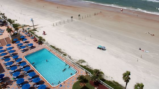 aerial view of pool and beach