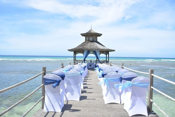 Chair setting of an Outdoor wedding at Holiday Inn Montego Bay