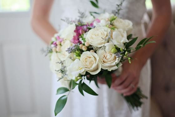 Closeup on bride flower bouquet at Holiday Inn Montego Bay