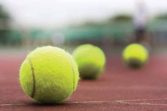 Tennis balls at the tennis court in Topnotch Stowe Resort