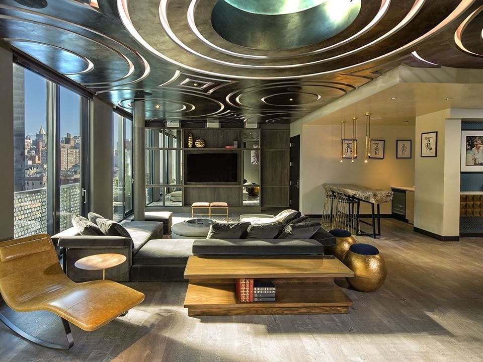 Fully glassed living room in Guesthouse at Dream Downtown NYC