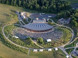 Aerial shot of event venue with crowds of people