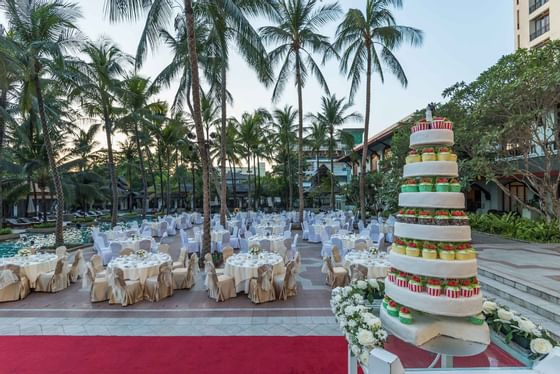 Wedding set up by the pool
