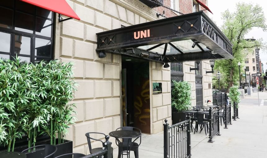 UNI Restaurant's outside patio with black tables and trees in planters