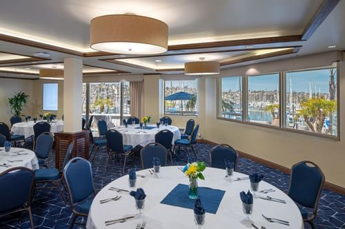 Dining area with a Ocean view for events at Bay Club Hotel