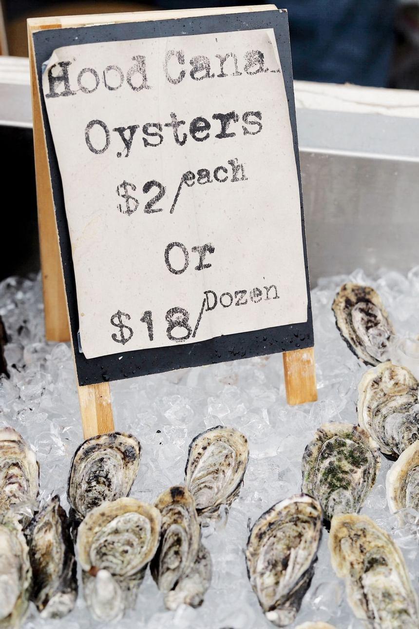 Oysters served at Hook & Fork in Alderbrook Resort & Spa