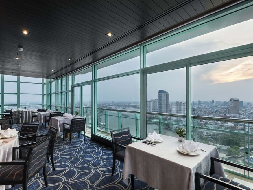 The morning elegant city view of Silver Waves Chinese Restaurant at Chatrium Hotel Riverside Bangkok