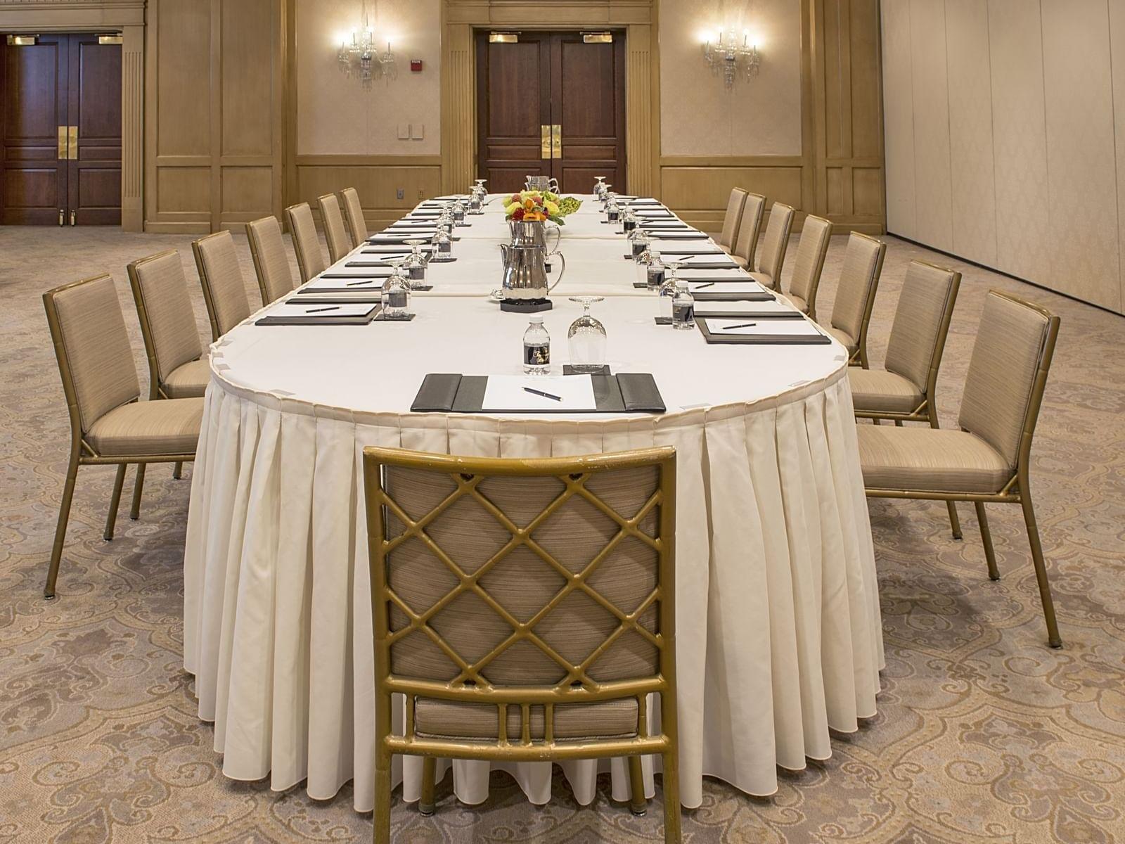 long table in a beautiful ballroom