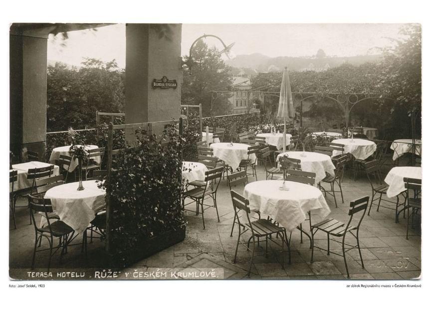 Terrace 1923 - Hotel Ruze, Český Krumlov, Czech Republic