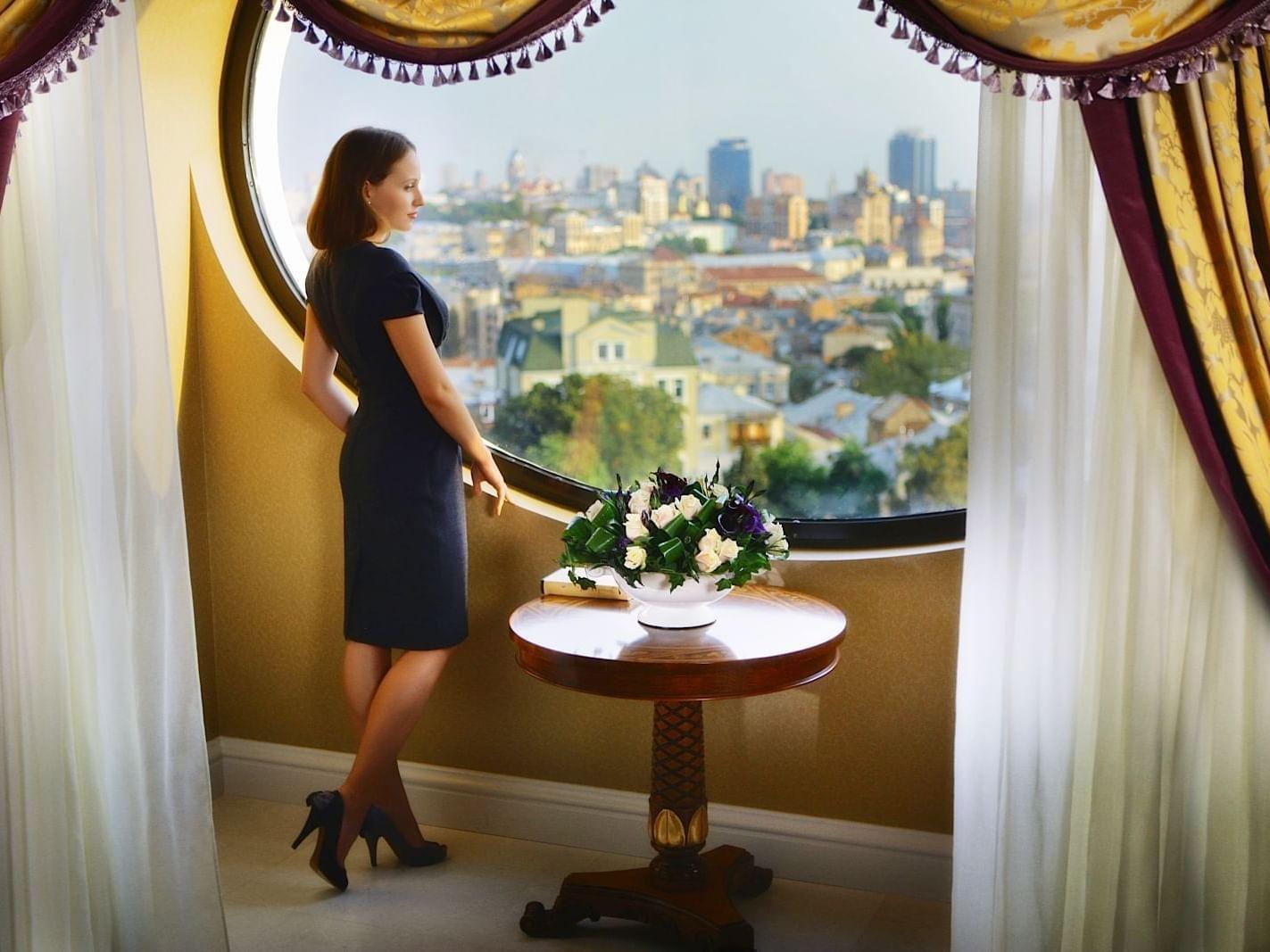 Enjoying view in Royal Suite at Intercontinental Kyiv hotel