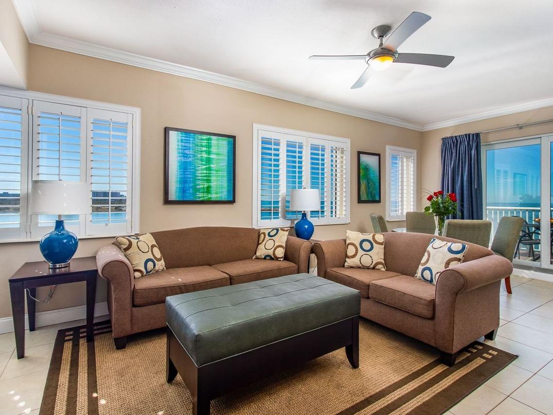 Living room in Sunset Suite at Shephard's Beach Resort