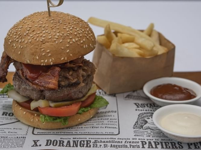 A burger meal in a Restaurant at Chatrium Residence Sathon
