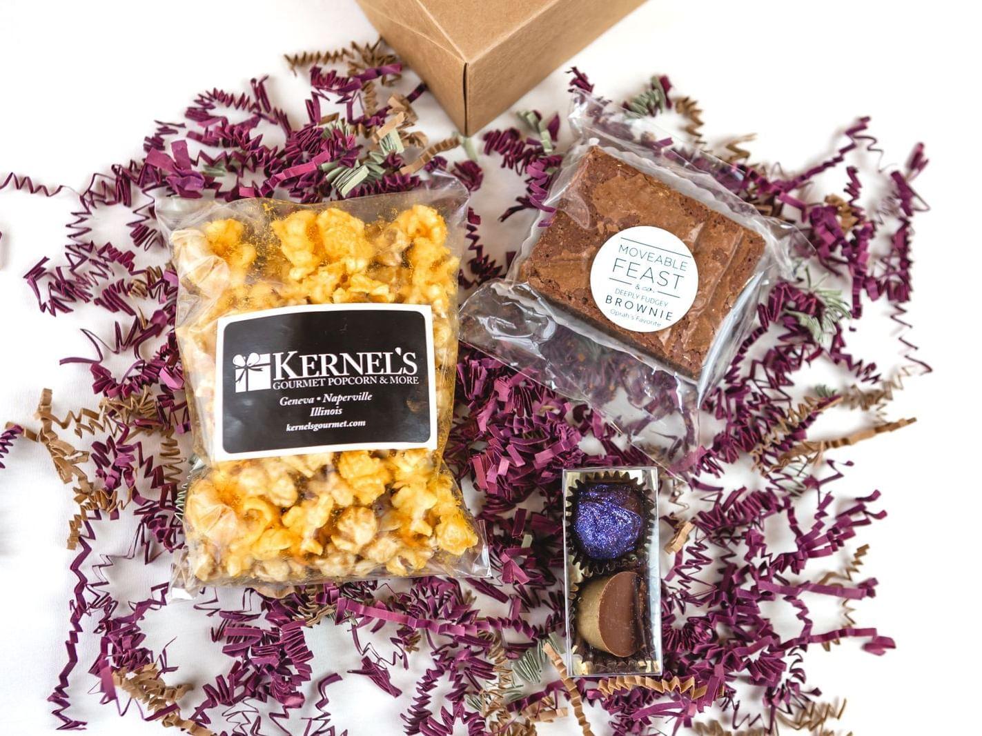 kernel corn, brownie, and chocolate treats