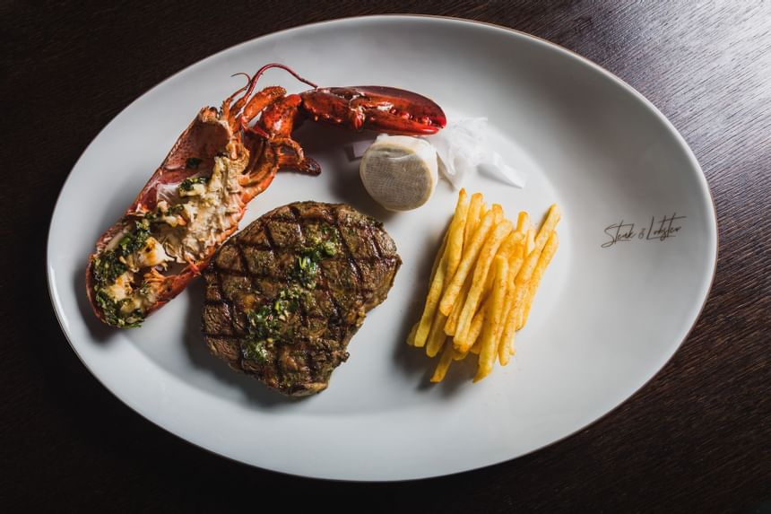 Close up on seafood with chips at Steak & Lobster Restaurants