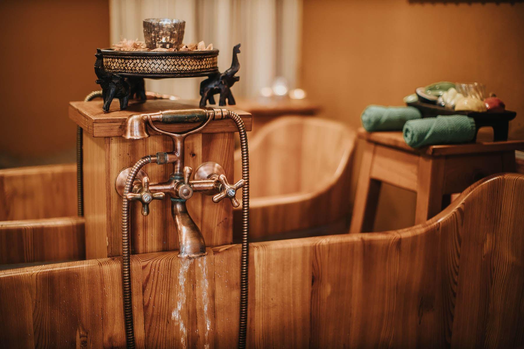 Wooden Bath in Wellness Area - Hotel Ruze, Český Krumlov, Czech