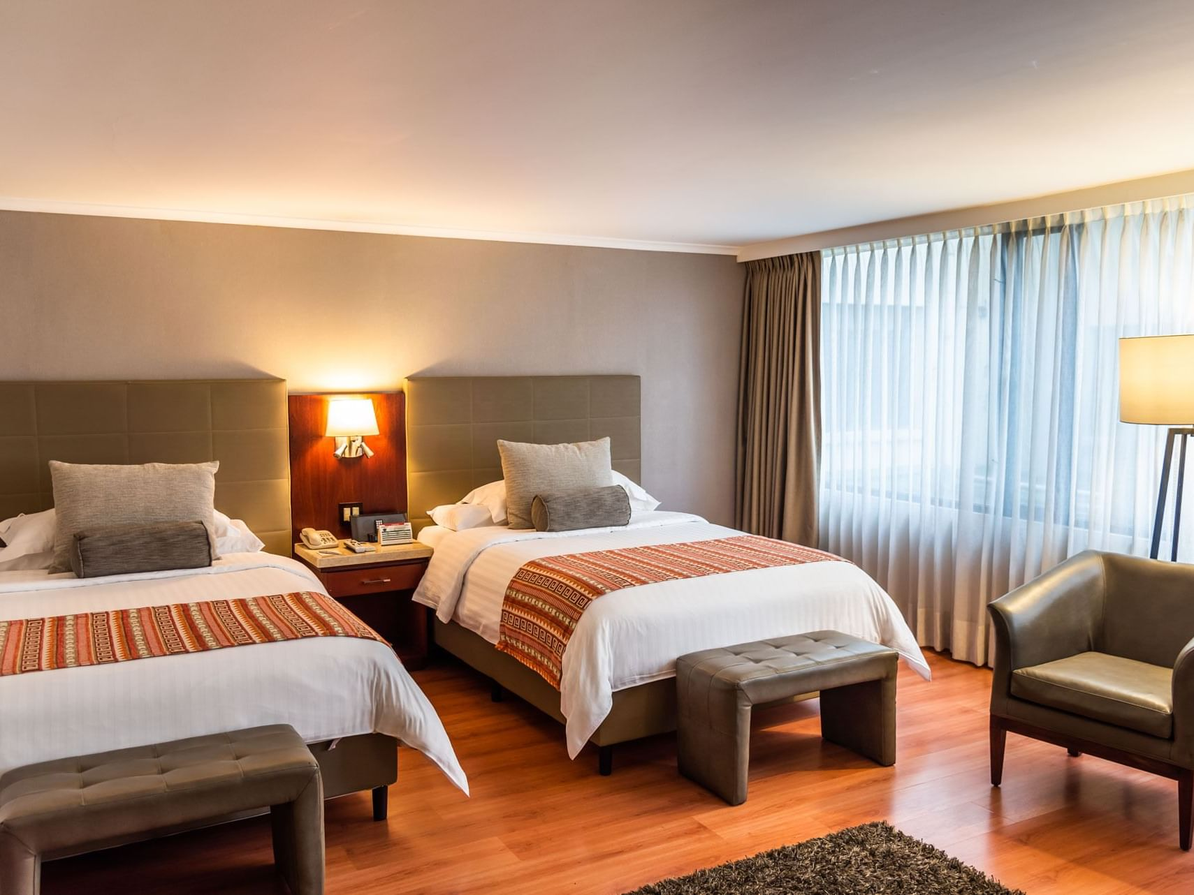 Twin beds in Non-Smoking Double Double at Bogotá Plaza Hotel